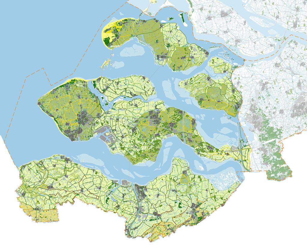 kaartbeeld landschapsstructuur Zeeland